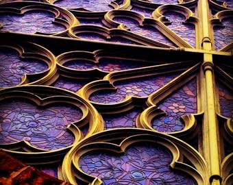 """Purple Stained Glass Church Old San Francisco 8x8"""" photo Up"""