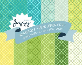 12 x Quatrefoil Pattern Digital Papers in Pear Lemon Fizz colours with Instant Download. SS0035
