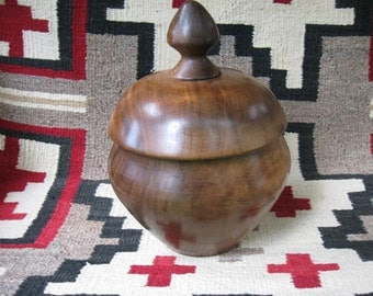 """Unique black walnut  canister/urn, 8.5"""" tall X 8"""" wide, 80 cubic inches"""