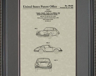 Porsche 911 Automobile Patent Art Wall Hanging Auto Mechanic Gift P9433