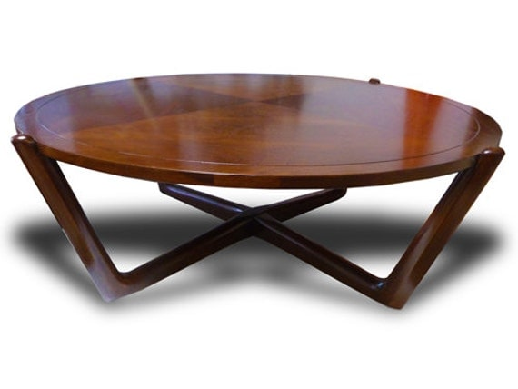 Mid Century Modern Danish Walnut Low Coffee Table Round