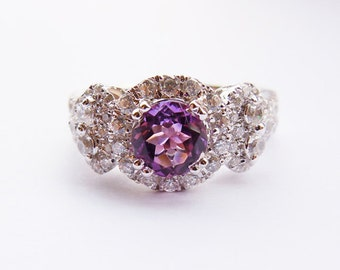 Sterling Silver&Authentic Amethyst Engagement Ring