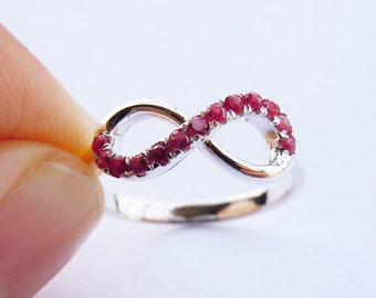 Infinity Ring in Sterling Silver&Man-Made Ruby Made-to-Order Size