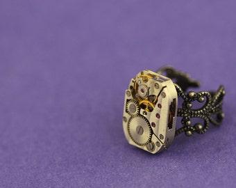 Steampunk vintage watch movement ring 2