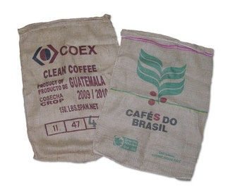 "10 Burlap Used Coffee Bags 28"" x 40"""
