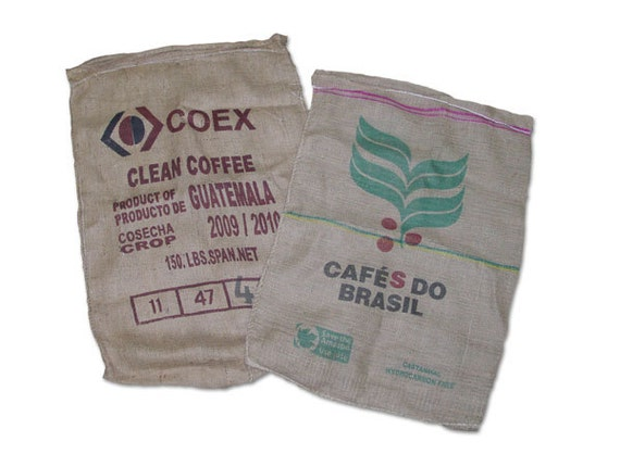 10 burlap used coffee bags 28 x 40
