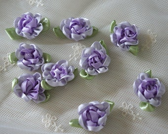lavender Satin Ribbon Flower Appliques -30pcs