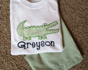 Monogrammed Personalized Boys Alligator applique shirt