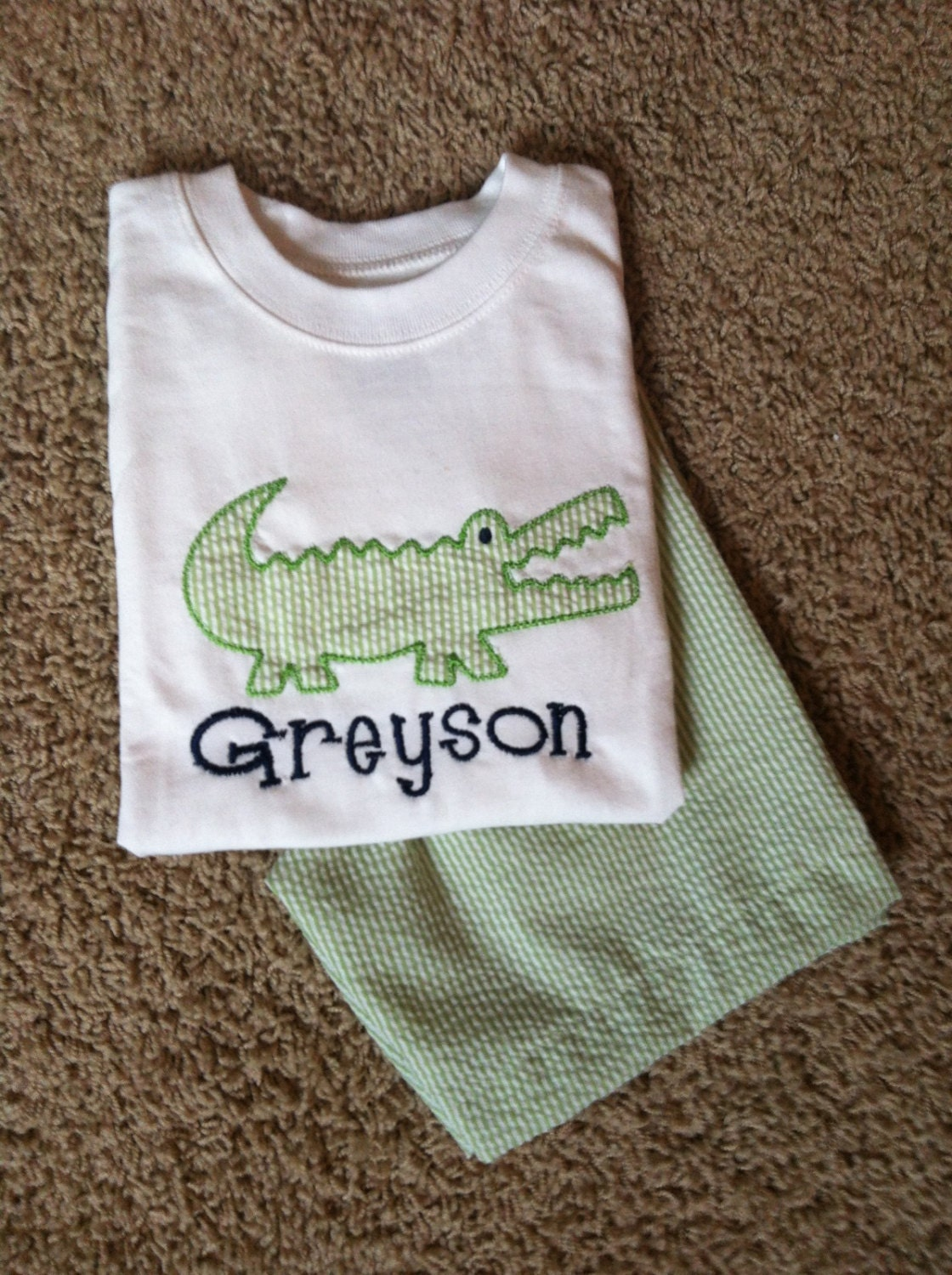 monogrammed personalized boys 2 pc alligator applique shirt
