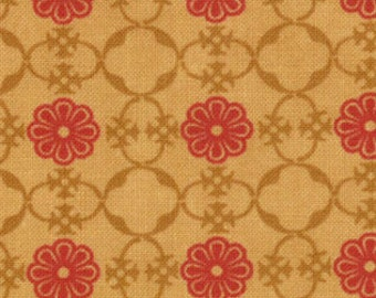Floral Medallions Fabric - Red & Gold - Circa 1934 Astaire by Cosmo Cricket for Moda Fabrics 37005 13 Gold Red - 1/2 yard
