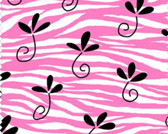 Pink Zebra Fabric - Tippy Toes Flower on Pink Zebra Fabric by Dana Brooks of Lazy Daisy Cottage for Henry Glass 9420 02  1/2 yard