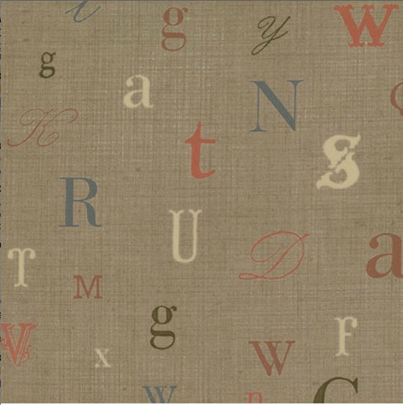 Cockerels Are Scattered All Over This Fabric Made From: 30 Remnant Alphabet Fabric La Petite Ecole
