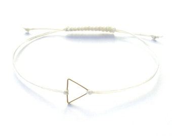 Triangle Friendship Bracelet in Natural Tan