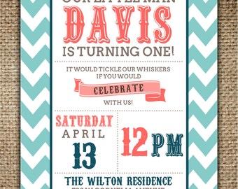 Children's Birthday Invitation : Mustache with Chevron Pattern