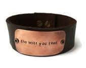 """Leather Bracelet For Men - """"the wolf you feed"""" - Old Cherokee Legend - Inspiration Jewelry"""