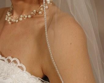 "Past elbow length Wedding veil Crystal Swarovski  Rhinestones edging 36"" long."