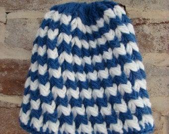 White and blue crochet beanie
