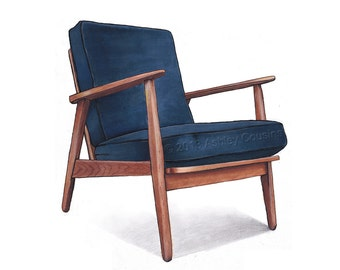 Mid Century Modern Danish Teak Chair Drawing, Navy Blue - 8x10