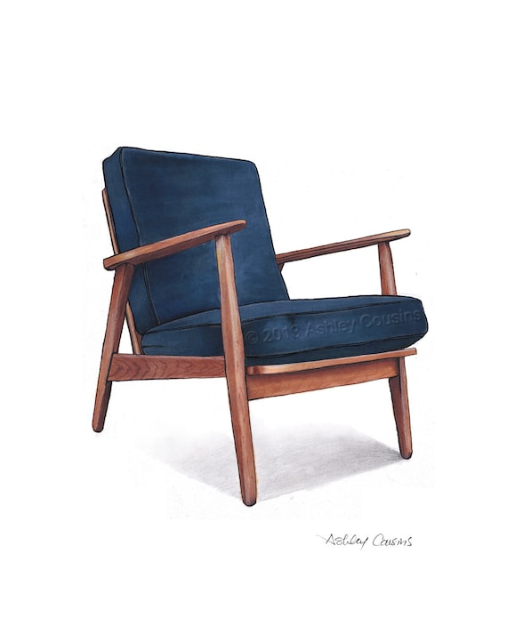 Mid Century Modern Danish Teak Chair Drawing Navy Blue 8x10