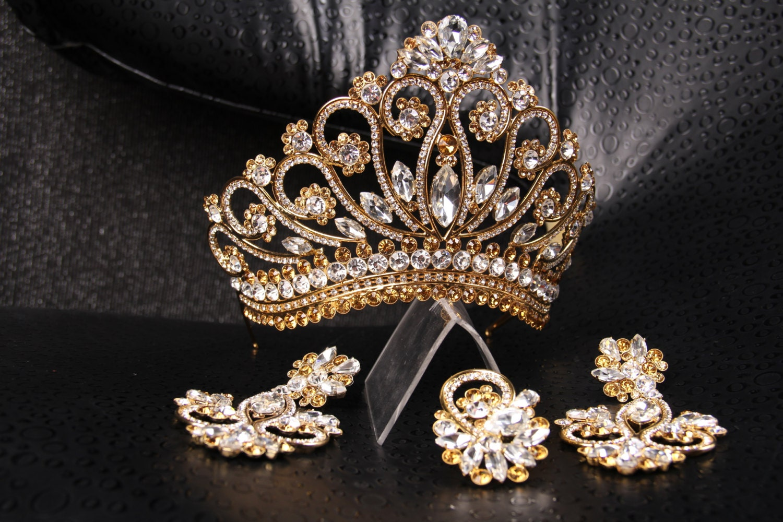 Unique handmade princess tiara crown wedding tiara crystal