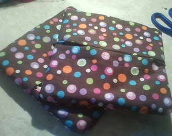 Pot Holders: Brown with Colorful Polka Dots