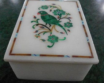 Vintage Jewelry Box Collectible Home Decorative Marble Inlay Parrot Design Pietra Dura Art Gifts