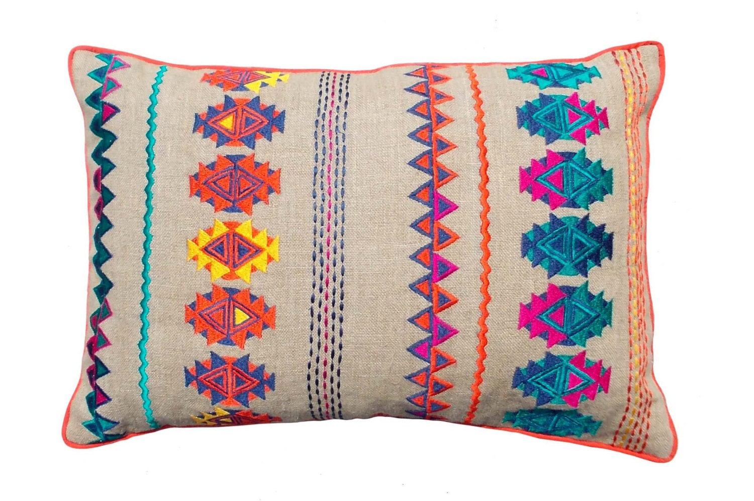 Colorful Bohemian Style Linen Pillow Cover, Embroidered Moroccan Pillow  Case, Tribal Indian Cushion Cover
