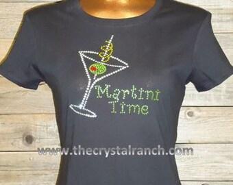 Martini Time Rhinestone Tee TB009