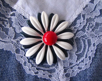 Vintage Red White Blue Flower Brooch