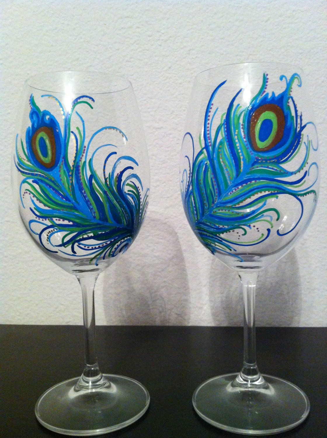 Hand painted peacock feather wine glasses set of 2 Images of painted wine glasses