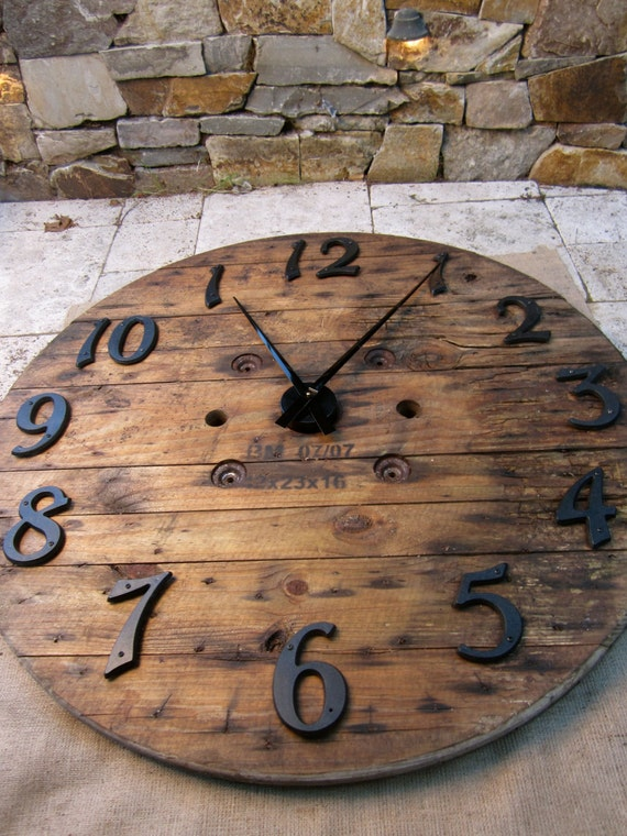 Recycled Wood Wall Clock - French Barn look - LARGE 41