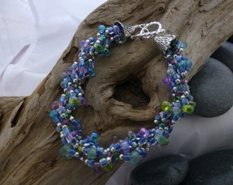 Colors of the Ocean Glass bead Spiral Bracelet