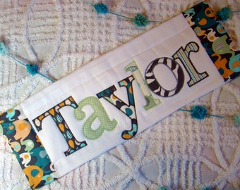 Personalized Burp Cloth Elephant Baby Boy