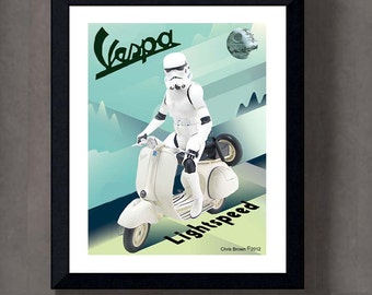 """Fine Art Print: - """"Vintage Stormtrooper Vespa, Art Deco Poster"""" - 8"""" x 10"""" Giclee print, Star Wars Fan art, Nerd Gift, Geekery"""