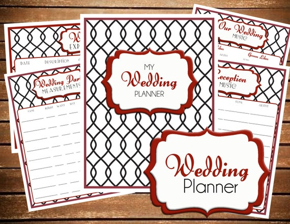 Printable Wedding Planner Binder Planning A Rustic: Items Similar To Wedding Planner, DIY Wedding Binder