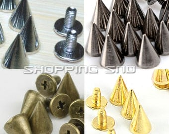 "Wholesale metal Cone Bullet Studs and Spikes 10mm 3/8"" Black/Silver/Bronze/Gold FREE SHIPPING WORLDIWDE"