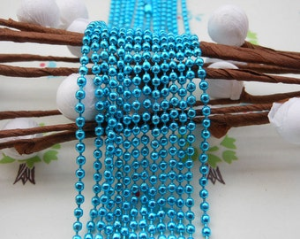 10 pcs Blue Ball Chain Necklaces - 27inch, 2.0 mm