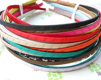 SALE--100PCS (mix colors)Plain Satin Covered Headband 5mm Wide