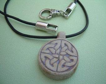 Celtic Knot Pendant  on a Leather Necklace, Mens Necklace, Womens Necklace, Womens Jewelry, Mens Jewelry, Mens Leather Necklace, Leather