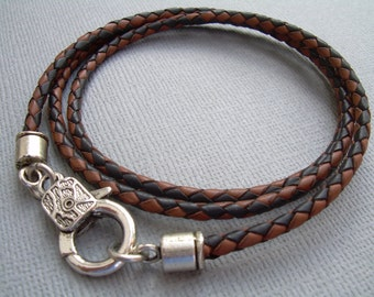 Triple Wrap Braided Leather Bracelet with Lobster  Clasp, Mens Bracelet, Mens Jewelry, Mens Gift, Leather Bracelet