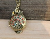 Phoenix The peacock locket necklace antique steampunk jewelry friendship vintage style