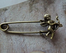 4Pcs 51mm Antique Bronze Angel safety pin brooch  (A138)