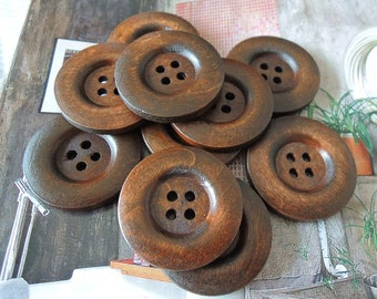 12 Pcs 30mm Brown / Coffee Wood button 4holes  (W186)