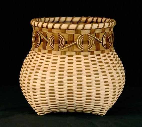 Basket Weaving Round Reed : Cherokee wheels hand woven basket in natural colors wicker