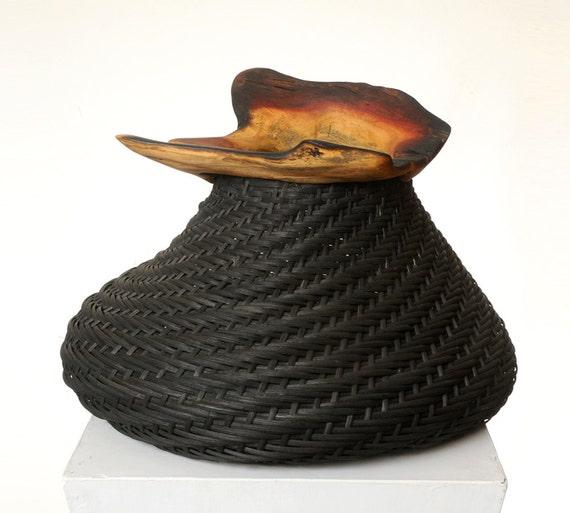 OOAK House decor - Black handwoven basket with asymmetric wooden rim
