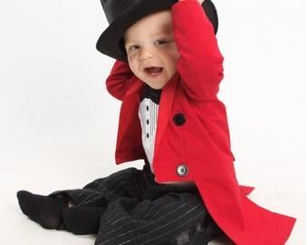3 Piece Ringmaster Costume - Tuxedo Jacket Fully Lined with Tails, Tuxedo Onesie or Tshirt and Tuxedo Pants