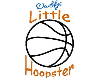 INSTANT DOWNLOAD Daddys Little Hoopster Basketball Machine Applique Embroidery Design