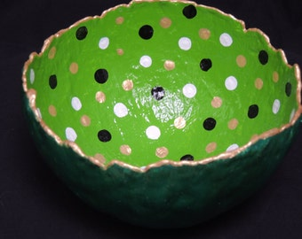 Emerald and lime green with black, white and gold dots handmade bowl.