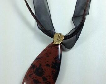 Mahogany Obsidian teardrop necklace