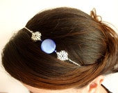 Blue Headband-Silver filigree headband-Beaded hair accessory-Blue and silver- Adjustable headband